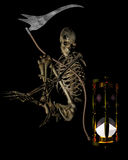 Skeleton with scythe and hourglass Royalty Free Stock Images