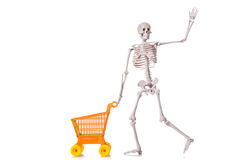 Skeleton with shopping cart trolley isolated Royalty Free Stock Photos