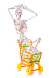 Skeleton with shopping cart trolley isolated Stock Image