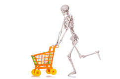 Skeleton with shopping cart trolley isolated Royalty Free Stock Images