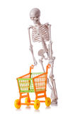 Skeleton with shopping cart trolley isolated Stock Photography