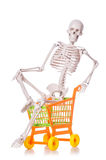 Skeleton with shopping cart trolley isolated Royalty Free Stock Photography