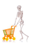 Skeleton with shopping cart trolley isolated Royalty Free Stock Photo