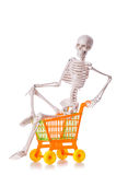 Skeleton with shopping cart trolley  Stock Photography