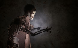Skeleton with a shroud. 3d illustration of a skeleton with a shroud Royalty Free Stock Photography