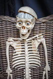 Skeleton sitting in a wicker chair Stock Photography