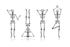 Skeleton sketches for your design Royalty Free Stock Images