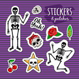 Skeleton and skull colorful stickers Stock Photography