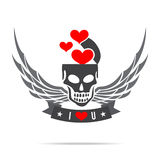 Skeleton skull with wing logo emblem Stock Photo