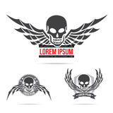Skeleton skull with wing logo emblem vector illustration element Stock Photo