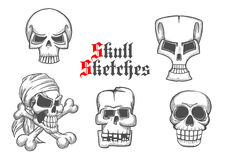 Skeleton skulls sketch icons set Stock Photo