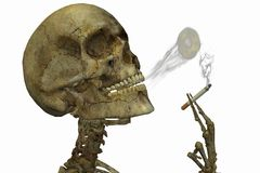 Skeleton smoking Royalty Free Stock Images