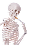Skeleton smoking cigarette isolated Stock Photography