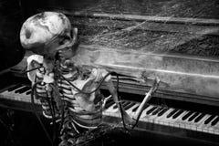 Skeleton spielendes Klavier stockbild