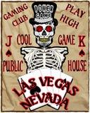 Skeleton Spieler mit Pokerkarten, Vektorillustration Lizenzfreie Abbildung