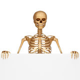 Skeleton is standing near sign Stock Images