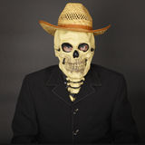 Skeleton in straw hat Royalty Free Stock Photography