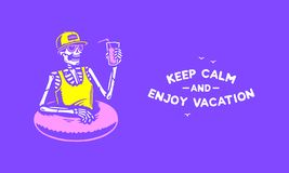 SKELETON CHILLING WITH COCKTAIL ENJOY VACATION vector illustration