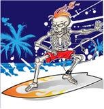Skeleton surfer on sea  background Royalty Free Stock Images