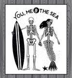 Skeleton Surfer vector art. Stock Photo