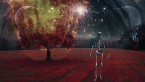 Skeleton in surreal landscape