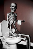 Skeleton on the Toilet Royalty Free Stock Photography