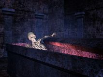 Skeleton in a tomb Royalty Free Stock Images