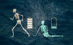 Low battery and high level battery concept. Skeleton in two versions tired and active with battery icon above. Full and low battery concept. Low battery red royalty free illustration