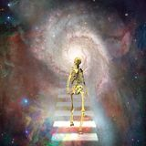 Skeleton on stairs in vivid space stock image