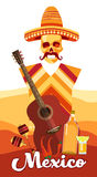 Skeleton Wear Mexican Traditional Sombrero Clothes With Guitar Over Desert Background Banner. Flat Vector Illustration Royalty Free Stock Images