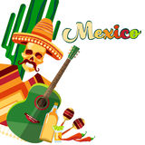 Skeleton Wear Mexican Traditional Sombrero Clothes With Guitar Tequila With Copy Space. Flat Vector Illustration Royalty Free Stock Images