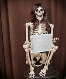 Skeleton in a wig sitting on the chair and holding paper with written message Stock Photos