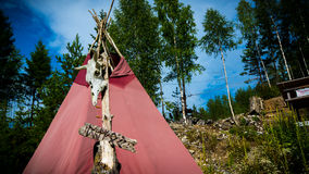 Skeleton and wigwam Stock Images