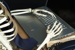 Skeleton at Work 1. Skeleton works on a laptop computer Stock Photos