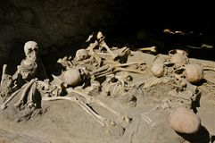 Skeletons in the Boat House, Herculaneum Stock Image