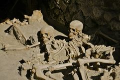 Skeletons in the Boat House, Herculaneum Royalty Free Stock Photo