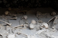 Skeletons in Boat Sheds,  Herculaneum Archaeological Site, Campania, Italy. Boat Sheds where over 300 skeletons are located. Herculaneum or Ercolano, Campania Stock Image
