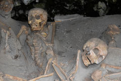 Skeletons in Boat Sheds, Herculaneum Archaeological Site, Campania, Italy. Boat Sheds where over 300 skeletons are located. Herculaneum or Ercolano, Campania Royalty Free Stock Image