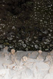Skeletons in Boat Sheds,  Herculaneum Archaeological Site, Campania, Italy. Boat Sheds where over 300 skeletons are located. Herculaneum or Ercolano, Campania Stock Images