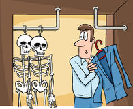 Skeletons in the closet cartoon Royalty Free Stock Photo