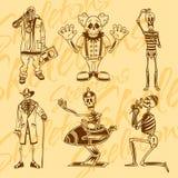 Skeletons - clowns. Vector set. Vinyl-ready Stock Photography