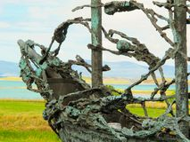 Skeletons on a famine ship, National Famine Monument, Westport in Co. Mayo