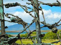 Skeletons on a famine ship, National Famine Monument, Westport in Co. Mayo stock photography