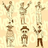 Skeletons - gangsters. Vector set. Vinyl-ready Royalty Free Stock Image