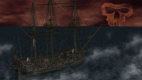 Skeletons in a ghost boat by night time Royalty Free Stock Image