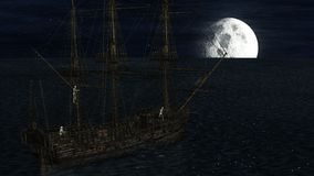 Skeletons in a ghost boat by night time stock illustration