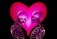 Skeletons With Love Heart Royalty Free Stock Photos