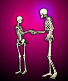 Skeletons Meeting. Pair of skeletons shaking hands when meeting each other Stock Image