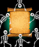 Skeletons with parchment Stock Photography