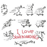 Skeletons riding on skateboards. Hand drawing doodles Royalty Free Stock Image